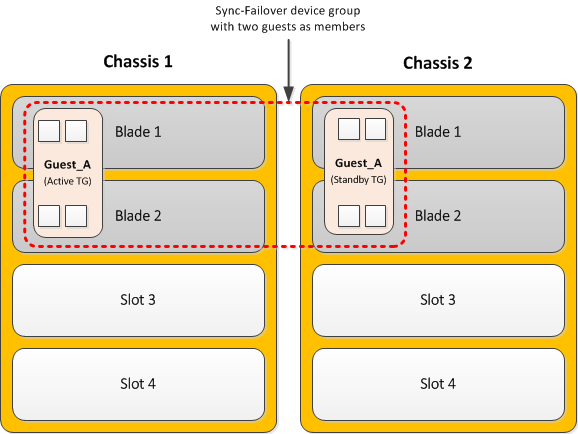 Dual-slot guests in a device group