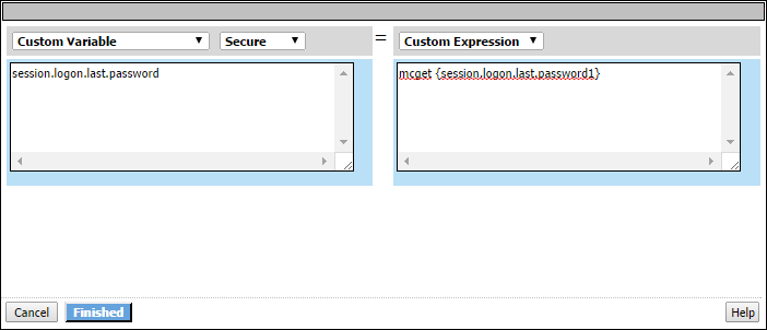 2-pane screen: custom variable in left pane and custom expression in right pane.
