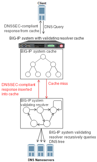 BIG-IP system using validating resolver cache