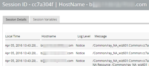 Session details report displays local time, hostname, log level, message, and a Session Variables tab.