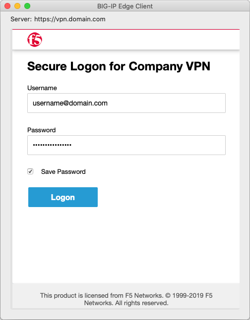 Edge Client for macOS login screen