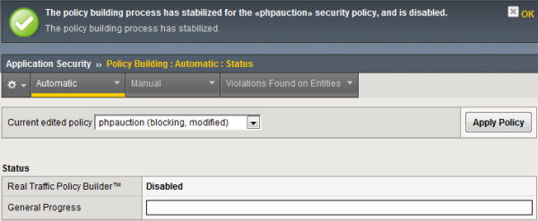 Stabilized security policy screen