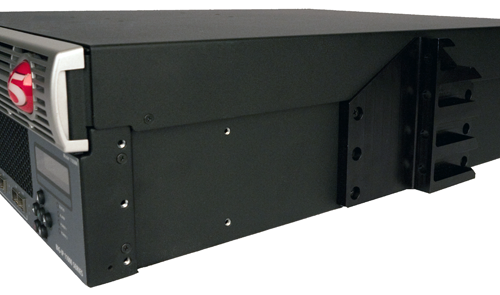 Center-mount bracket for 19-inch rack installed on a                          platform