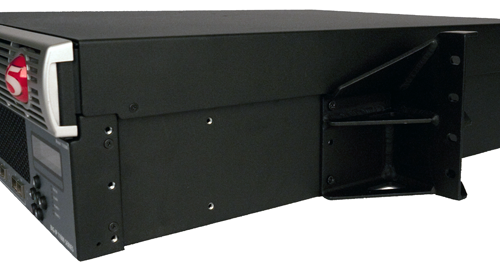 Center-mount bracket for 23-inch rack installed on a                          platform