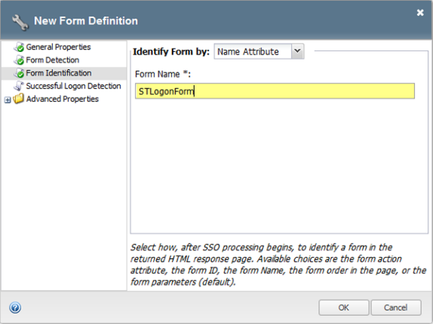 Form-based client-initiated SSO form identification window