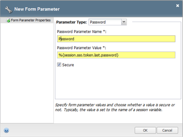 Form-based client-initiated SSO form parameter properties password example
