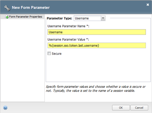 Form-based client-initiated SSO form parameter properties username example