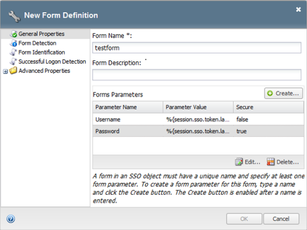 Form-based client-initiated SSO form parameters completed window