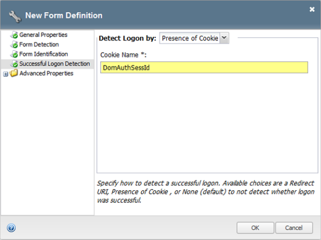 Form-based client-initiated SSO successful logon detection window
