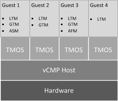 A vCMP system with four guests