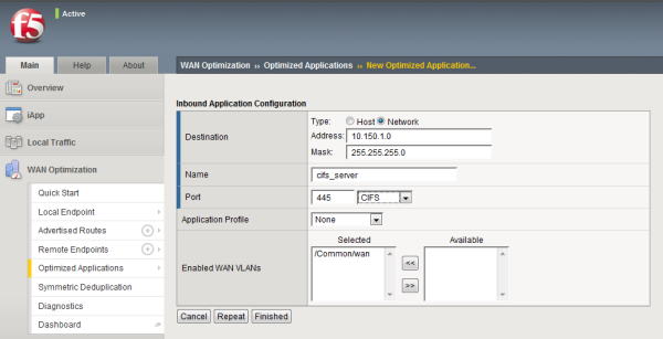 Example of completed Inbound Application Configuration screen for CIFS traffic