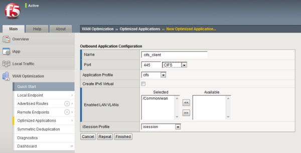 Example of completed Outbound Application Configuration screen for CIFS traffic
