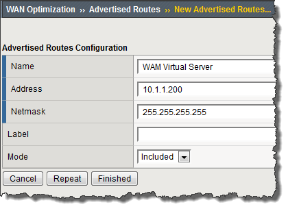 Example of adding a virtual server as an advertised route