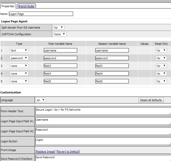 Logon page properties in visual policy editor