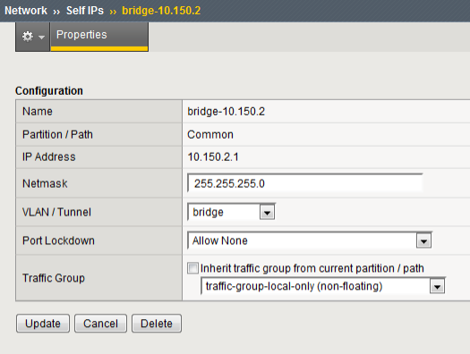 Example of self IP address assigned to VLAN group