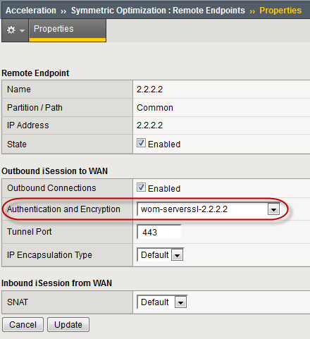 Remote Endpoints Properties screen with Authentication setting highlighted