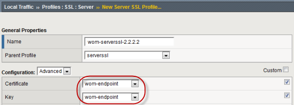 SSL Server Profile Certificate and Key settings