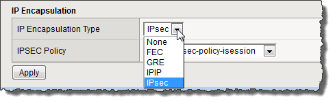 Example of IPsec selection from IP Encapsulation Type list