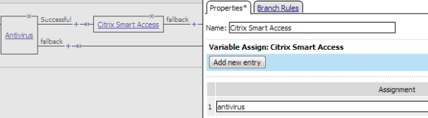 Variable Assign:Citrix Smart Access is set to antivirus in this example.