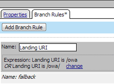 Changing the Landing URI branch rule value from /uri1 to /owa