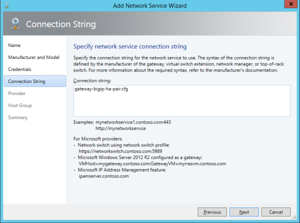 Specifying a connection string for the gateway
