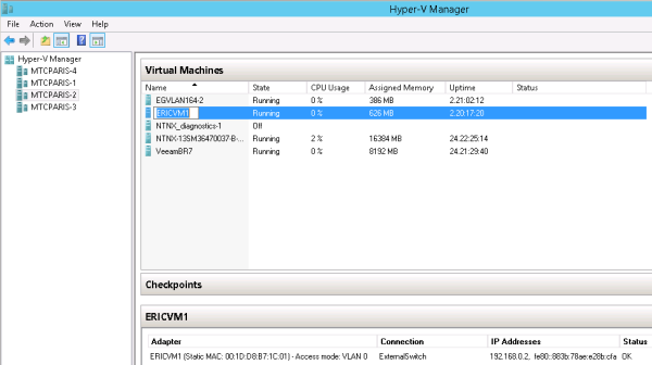 Screen snippet showing VM visibility of customer address