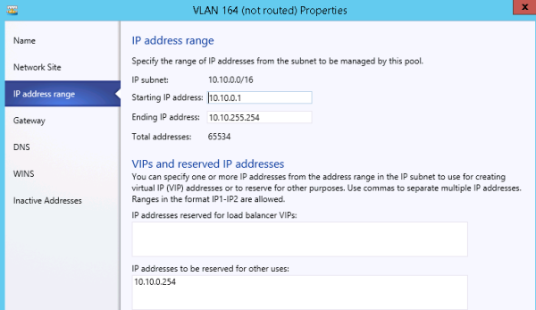 Specifying the range of IP addresses for a pool