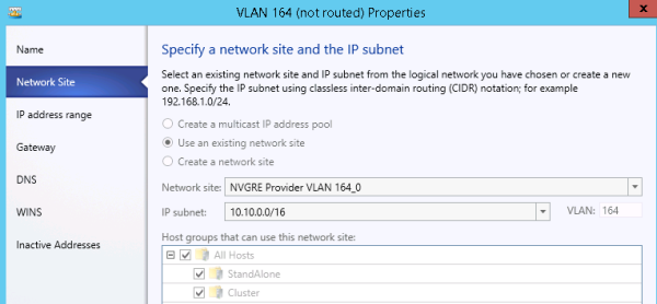 Specifying a network site and the IP subnet