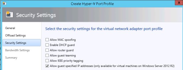 Example of setting security for a virtual port profile
