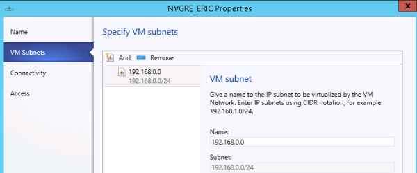 Specifying VM subnets