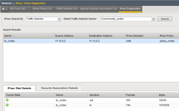 Example of IPsec Stat Details tab diagnostics