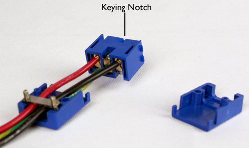 Wired terminal block and location of the keying notch
