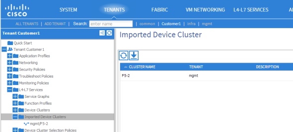 apic imported device clusters