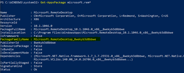 Example of a PowerShell command to get Package Family Name